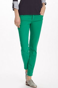 Green skinny ankle jeans.  I wear them just like my dark-rinse ones. So much more exciting than plain blue!