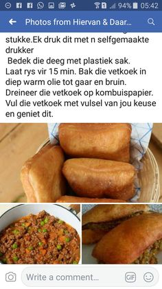 Bread Recipes, Cooking Recipes, Cut Recipe, South African Recipes, Lunch Boxes, Afrikaans, Light Recipes, Fritters, Kos