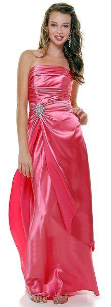 Long Strapless Coral Bridesmaid Dress Prom Satin Rhinestone Pleated Bodice $99.99