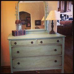 Antique dresser with mirror painted with Annie Sloan chalk paint in Duck Egg Blue.