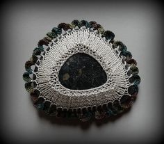 Art, Crochet Lace Stone, Original, Handmade, Table Decoration, Tribal, Art Object, Collectibles, Home Decor