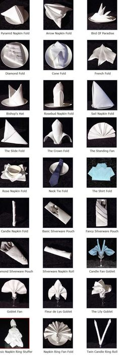 fold a napkin----SO COOL A CHART STEP BY STEP ON NAPKIN DESIGN FOLDING | Craft ~ Your ~ HomeCraft ~ Your ~ Home