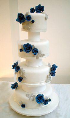 blue rose silver wedding cake