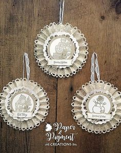 Vintage ornaments using Stampin Up Christmas Magic, Father Christmas, and Merriest Wishes Stamp Sets.  Crumb Cake and Shimmer White Cardstocks.   Crumb Cake Ink.  Rosette DSP from Hobby Lobby.