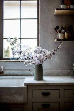 Morning light through the window and spring blossoms. #spring #blossom #kitchendesign