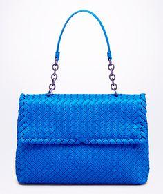 Bottega Veneta's hand-woven Olimpia bag in signal blue.