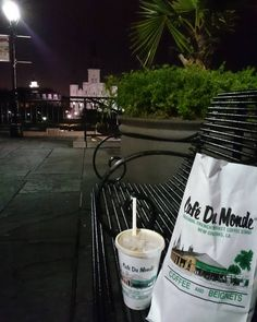 Always be my favorite coffee   Good coffee good snack good place good time and good night... #coffee #night #cafédulait #cafedumonde #frenchquarter #neworleans #louisiana #usa #jacksonsquare #saintlouis #catedral by denidisini