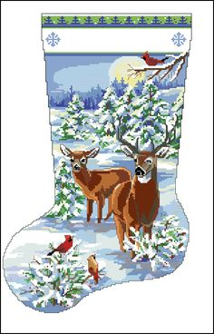 CaptainCrafts Hot New Cross Stitch Kits Needlecrafts Patterns Counted Embroidery Kit - Elk Deer Christmas Stocking (White) Cross Stitch Christmas Stockings, Cross Stitch Stocking, Xmas Stockings, Cross Stitch Kits, Christmas Cross, Cross Stitch Patterns, Christmas Decor, Christmas Ornaments, Needlepoint Stockings