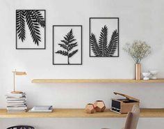 Set of 3 wall art, plants wall art, leaves wall art, laser cut design, leaves print, plants wall hanging, office decor, living room decor