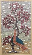 Gond Tribal Art Paintings - SKD 311 Peacock and the tree by Suresh Kumar Dhurve