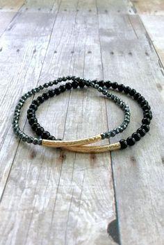 Gold Beaded Bracelet Set, Hematite and Black Onyx Jewelry, Textured Gold Tube Bead Bracelet Stack