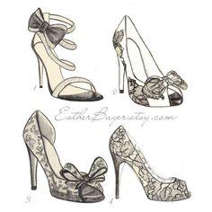 High Heel Shoe Fashion Illustration Original Black & White Valentino... ($16) ❤ liked on Polyvore