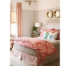 Brighter room. Beige and Peach bedroom. Jade green accents ?