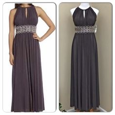 R&M Richards Mocha Sleeveless Beaded Evening Gown Elegant, fun and above all comfortable! You will love this gorgeous beaded jersey dress!Sleeveless bodice featuring eye-catching and chic key hole detail. Heavily beaded empire waist adds tons of sparkle and helps create a flattering silhouette. Long jersey skirt with front slit gives this already fabulous ensemble a flowy feel and touch of drama. Perfect dress for a military ball or any special occasion. polyester/spandex and is fully lined…
