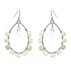 Silver clear quartz, pearl earrings
