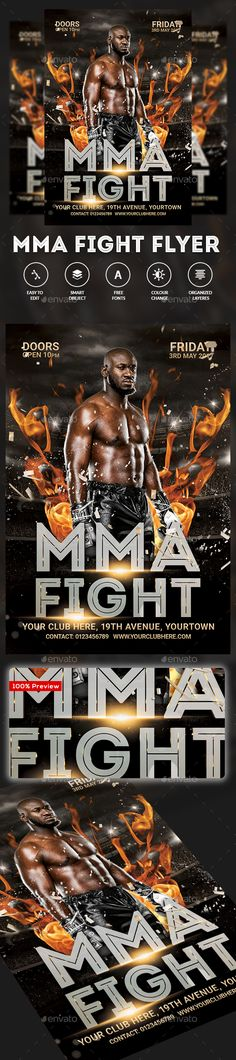 MMA Fight PSD Flyer  Template • Only available here ➝ http://graphicriver.net/item/mma-fight-flyer/16537863?ref=pxcr