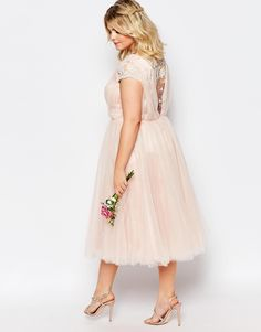 Image 2 ofChi Chi London Plus Midi Dress With Tulle Skirt