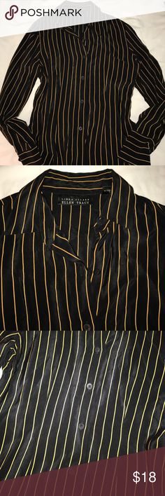Silk ELLEN TRACY Pinstripe Blouse The perfect addition to any wardrobe.  Stylish and versatile Black and Tan striped silk blouse.  In Like New condition.  No snags, irregularities or flaws. Ellen Tracy Tops Blouses