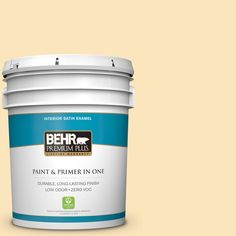 BEHR Premium Plus 5-gal. #350C-2 Banana Cream Zero VOC Satin Enamel Interior Paint