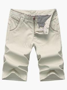 Zipper Fly Cotton Shorts For Men - Milanoo.com