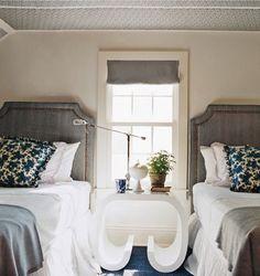 Grey upholstered headboard {High Fashion Home Blog: Sleep Tight}