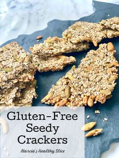 Gluten-Free Seedy Crackers - The Healthy Slice Gluten Free Crackers, Gluten Free Oats, Healthy Slice, Herb Butter, Charcuterie Board, Deep Dish, No Bake Cookies, Food Print, Snacks