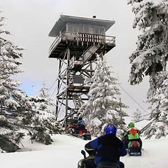 Clear Lake Butte fire lookout, Oregon - 4-hour uphill snowmobile trail, one of many USFS fire lookouts, full-size bed, gas range, 360° panorama view | Sunset Magazine, 12/20 most unique hotels in the West