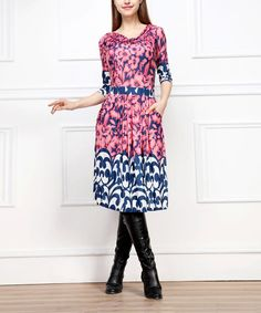 Super cute dress! Take a look at the Pink & Navy Blue Floral Filigree Three-Quarter Sleeve Dress - Women on #zulily today!
