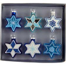 6 Piece Glitter Jewish Stars Ornament Set