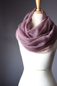 Eco Infinity Scarf pure silk summer spring light loop tube soft mauve purple textured rose smoke circle women scarves