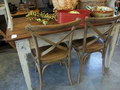 Constance side chairs by Ballard Designs.  Handmade farmtable.