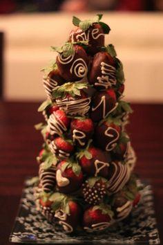 chocolate covered strawberries tower