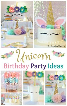 Unicorn Birthday Party Ideas – Food, Decorations, Printables – The Suburban Mom The sweetest Unicorn birthday party ideas for a unicorn first birthday party including unicorn decorations, unicorn food and free printables. Diy Unicorn Birthday Party, Unicorn Birthday Parties, First Birthday Parties, Birthday Party Decorations, Girl Birthday, Food Decorations, Birthday Ideas, Birthday Images, 3rd Birthday Party For Girls