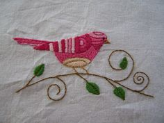 a sweet little bird Bird Embroidery, Hand Embroidery Patterns, Cross Stitch Embroidery, Bird Crafts, Felt Crafts, Machine Embroidery Projects, Pink Bird, Bird Patterns, Handmade Crafts