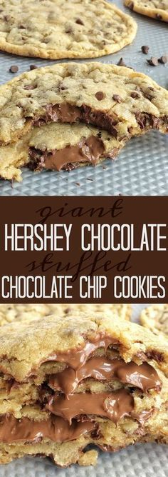 Giant chocolate chip cookies stuffed with a Hershey chocolate bar! The best chocolate chip cookie dough loaded with more chocolate.