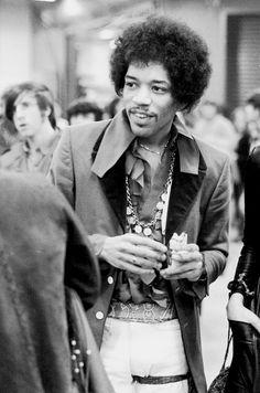 Jimi Hendrix backstage at Madison Square Garden, 1970.