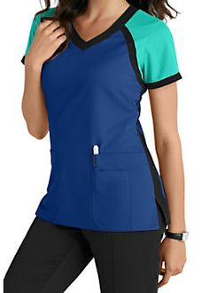 Grey's Anatomy 3 Pocket Color Block V-neck Scrub Tops Scrubs Outfit, Scrubs Uniform, Spa Uniform, Stylish Scrubs, Greys Anatomy Scrubs, Womens Scrubs, Dressy Tops, Scrub Tops, Long Tops