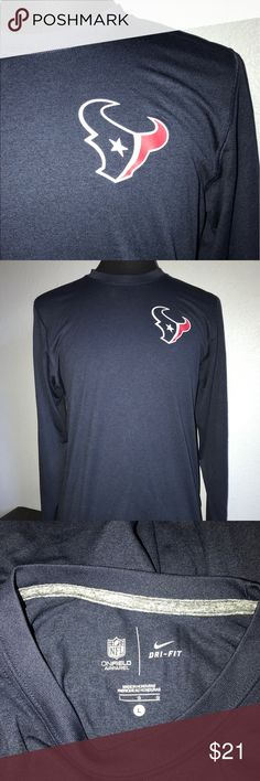 Nike Dri-Fit NFL ONFIELD APPAREL. HOUSTON TEXANS It's a perfect Houston's Texans Nike dri-Fit Long sleeve shirt. No cracking on letters or pictures. No snags, holes, stains, or issues of any kind. Nike Dri-Fit Shirts Tees - Long Sleeve