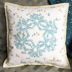 Wonder Fuse Snowflake Pillows Little town fabrics  art gallery fabrics aurifil thread clover products  Faith Essenburg Sarana Ave