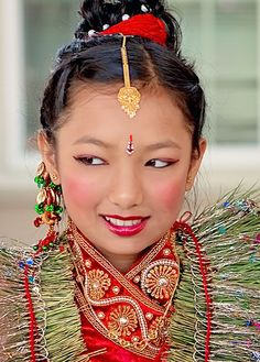 Taken for a family's traditional, Nepalese ceremony. Adornment Asian Culture Beauty Children Close-up Cultures Day Faces Faces Of EyeEm Faces Of The World Focus On Foreground Fresh On Eyeem  Headshot Human Face Jewelry Leisure Activity Lifestyles Multi Colored Necklace People Portrait Princess Third Eye Toothy Smile