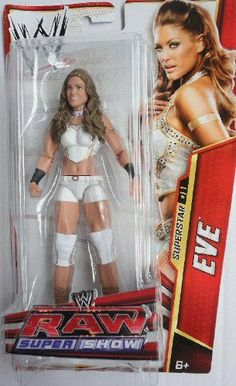"""WWE Eve Torres RAW Supershow Figure - Series #25 by Mattel. $22.75. Bring home the officially licensed WWE action. Collect all your favorites WWE Superstars. Kids can recreate their favorite WWE matches. WWE RAW Super show Series #25 action figures in 7"""" Superstar Scale. Features extreme articulation, amazing accuracy and authentic details. From the Manufacturer                World Wrestling Entertainment Superstar Figure Collection: Bring home the action of the WWE. Kids..."""