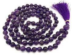 Amethyst Japa Mala 108 beads plus 1 larger guru bead with real gemstones for use in Meditation or as a Necklace ** More info could be found at the image url.