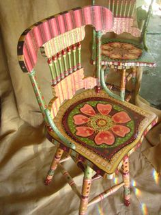 I love this...I want to make some of these whimsical chairs for my studio!  Anyone have any old wood chairs they want to part with?