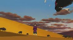 Tales From Earthsea-Arren being attacked by wolves.