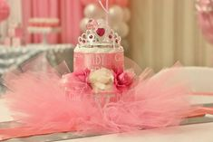 Princess baby shower party diaper cake! See more party planning ideas at CatchMyParty.com!