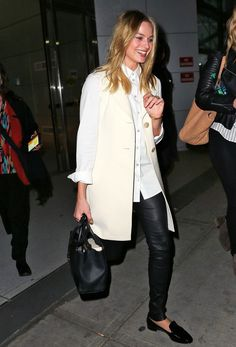 margot robbie black leather pants white coat street style