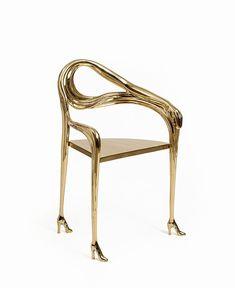 Salvador Dali, 'Leda' chair/sculpture. Gilded and polished bronze - by Cornette de Saint-Cyr #Surrealism