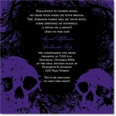Adult Halloween Party Invitations pin up witch halloween party invitations Here They Lie Purple Halloween Halloweenparty Party Fun October Fall