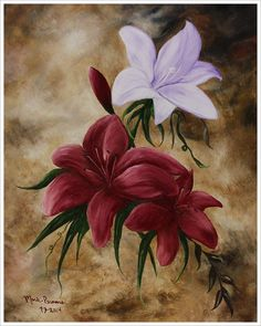 Red and White Lilies Original Oil Painting by MarieParsonsArt