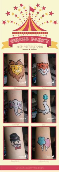 Fun and easy cheek art by emco designs for a circus themed party!